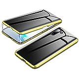 Jonwelsy Anti-Spy Funda para Samsung Galaxy Note 10, 360 Grados Proteccion Case, Privacidad Vidrio Templado Anti espía Cover, Adsorción Magnética Metal Bumper Cubierta para Galaxy Note 10 (Oro)