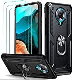 ivoler Funda para Xiaomi Pocophone F2 Pro con [Cristal Vidrio Templado Protector de Pantalla *3], Anti-Choque Carcasa con Anillo iman Soporte, Hard Silicona TPU Caso - Negro
