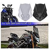 FATExpress MT125 15-19 Accesorios Parabrisas de la Motocicleta Flujo de Aire Deflectores de Viento Protector Pantalla para 2015 2016 2017 2018 2019 Yamaha MT 125 MT-125 (Fumar)