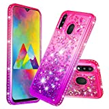 COTDINFOR Samsung Galaxy M20 Funda Líquido Degradado de Color Glitter Sparkle Bling Quicksand Caso Silicona Blanda Protectora Carcasa para Samsung Galaxy M20 TPU Pink Purple YB.